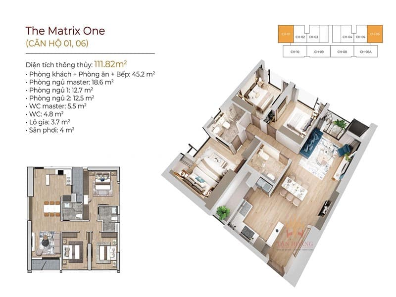thiết kế căn hộ 01 và 06 the matrix one