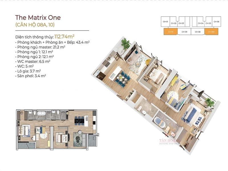 thiết kế căn hộ 8a và 10 the matrix one