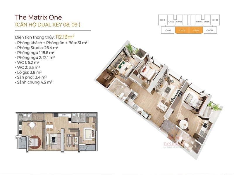 thiết kế căn hộ dual key 08 và 09 the matrix one